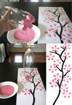 Make an easy simple tree painting. You'll need: brown paint for the branches . - Make an easy simple tree painting. You'll need: brown paint for the branches any colored paint for the flowers paper a liter bottle a paint brush - Kids Crafts, Cute Crafts, Easy Crafts, Diy And Crafts, Arts And Crafts, Paper Crafts, Simple Tree, Art Diy, Bottle Painting