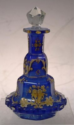 Bohemian Glass Perfume Bottle w/ Gilt Floral Motif
