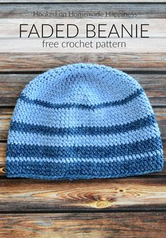 For the Faded Beanie Crochet Pattern I used one of my favorite acrylic yarns, Lion Brand Jean's yarn. It is so, so soft and is perfect for hats. Crochet Beanie Hat, Beanie Pattern, Knitted Hats, Slouch Hats, Slouchy Beanie, Free Crochet, Knit Crochet, Crochet Hats, Crochet Style