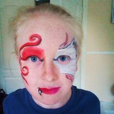 half devil half angel face paint - Google Search