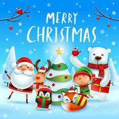 Merry Christmas Vector, Christmas Ornaments, Elf, Cardinal Birds, Snow Scenes, Polar Bear, Reindeer, Adobe, Santa