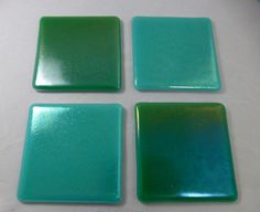 Fused Glass Coasters with Iridescent Ocean by SugarLipsGlass