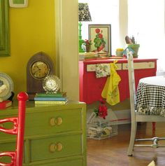 red and green furniture