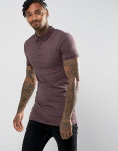 cb7615713 ASOS Extreme Muscle Longline Polo in Jersey - Brown Burton Menswear, Skinny  Fit, Super