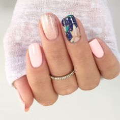 Beautiful light pink mixed mani using Jamberry ColourCure and an accent wrap. Colour cure: Ballet Slipper Color Pop limited availability and Sea Meets Shore.wrap: Dazzle the World. Gorgeous floral accent! facebook.com/ErikasPrettyPinkies