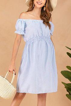 b8ac32a8d98e6 2019 的 Maternity Off The Shoulder Ruffle Plain Dress – Cutieppies ...