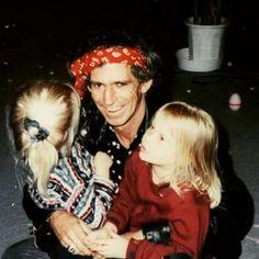 Keith Richards with daughters Theodora Dupree (b.1985) and Alexandra Nicole (b.1986)