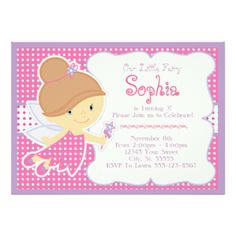 Pink Fairy Birthday Invitations