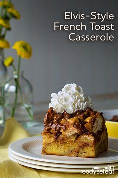 Brunch couldn't be easier this Easter morning with this Elvis-style French Toast Casserole. Made with ripe bananas, peanut butter, chocolate chips and of course, Reddi-wip®! Tasty, Yummy Food, French Toast Casserole, Easter Brunch, Food Dishes, Carne, Chocolate Chips, Breakfast Recipes, Cooking Recipes