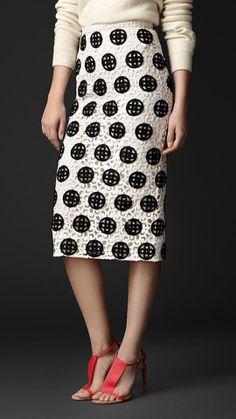 Burberry Dotted Macramé Lace Pencil Skirt