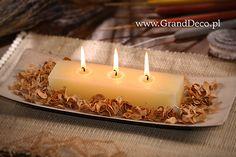 Potrójna świeca rustykalna w aranżacji z wybielanym potpourri curly pot