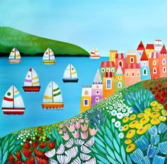 Love is in the air - Tiziana Rinaldi Art - #art #painting #houses #sea #landscape #boats #flowers