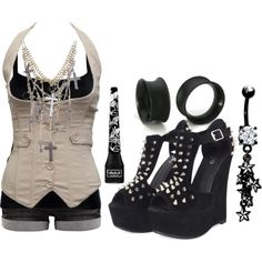 """Untitled #487"" by forever-ur-sickest-hoe on Polyvore ----> I wouldn't wear the necklace, but the rest of the outfit is cool."