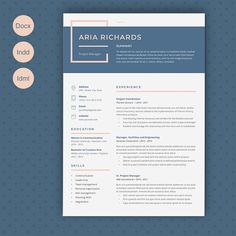 Resume Aria by Estartshop on Graphics Author - Resume Template Ideas of Resume Template - Resume Aria by Estartshop on Graphics Author Resume Layout, Resume Format, Resume Writing, Resume Design Template, Cv Template, Resume Templates, Design Resume, Design Templates, Web Design