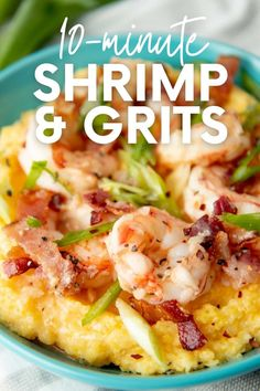 Shrimp and grits is one of my favorite comfort foods at the end of a long day. Dinner in less than 20 minutes? Sign me up! Best Easy Dinner Recipes, Easy Meals, Lunch Snacks, Dessert For Dinner, Healthy Eating Recipes, Grits, Comfort Foods, Food To Make, Meal Planning