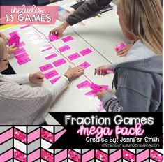 Fraction Games Mega Pack explores modeling fractions, all operations with fractions, comparing fractions, converting fractions, equivalent fractions & more. Fraction Games, Fraction Activities, Phonics Activities, Math Resources, Educational Activities, Comparing Fractions, Adding Fractions, Equivalent Fractions, Teaching Secondary