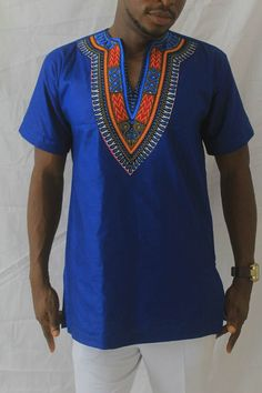 Unique style Mens Dashiki Blue Mens Dashiki by NayaasDesigns