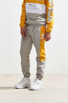 Urban Outfitters Fila + Uo Barnet Wind Pant - Grey Xl One Size Fila Vintage, Sport Fashion, Mens Fashion, Fashion Trends, Fashion Shoes, Fashion Outfits, Fila Outfit, Clothing Logo, Thrasher