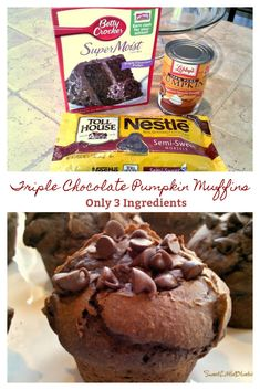 Triple Chocolate Pumpkin Muffins - Only 3 Ingredients Simple To Make, So Darn Good, Super Moist And Delicious Donut Muffins, Cake Mix Muffins, Mini Muffins, Triple Chocolate Muffins, Chocolate Pumpkin Muffins, Chocolate Cake Mixes, 2 Ingredient Pumpkin Muffins, Easy Pumpkin Muffins, Chocolate Cheesecake