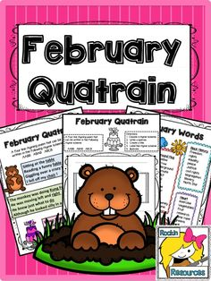 FREE!!!  TEACH YOUR STUDENTS QUATRAINS IN FEBRUARY!  3-PAGE FREEBIE-  WORD LIST INCLUDED!  #rockinresources