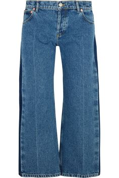 Tonal-blue denim  Partially concealed button fastenings along front 100% cotton Dry clean
