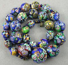 Vtg Art Nouveau / Deco Venetian Millefiori Glass Beads Necklace 21mm's Ctr. 139g