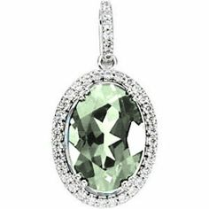 Platinum Oval Cut Prasiolite (Green Amethyst) and Diamond Pendant Gems-is-Me. $1389.25. FREE PRIORITY SHIPPING. This item will be gift wrapped in a beautiful gift bag. In addition, a 'gift message' can be added.