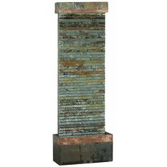 Enjoy the sounds of falling water with a relaxing floor fountain from Vellamo. This 46-inch-tall slate fountain lets water slowly cascade over a textured facade to create a peaceful atmosphere. It comes with the fountain, water pump, and instructions.