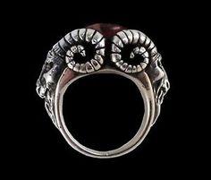 Sterling Silver Bighorn Baphomet Garnet Ring All Sizes Goat RAM ...