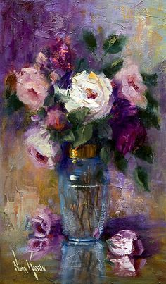 "I am not really quite sure where to pin this, but since it is a painting, I suppose it might go in the home. Oil painting ""A Jar Of Roses"" 20 x 12 inches by Artist NORA KASTEN Arte Floral, Artist Painting, Painting & Drawing, Oil Painting Flowers, Painting Wallpaper, Painting Videos, Watercolor Artists, Painting Lessons, Painting Tutorials"