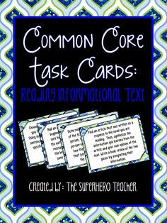 Common Core Task Cards: Reading Informational Text for grades 9-12! :)