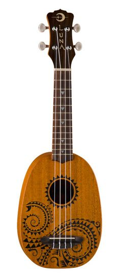 "Luna Guitars ""Tattoo"" soprano pineapple-style ukulele. Mahogany."