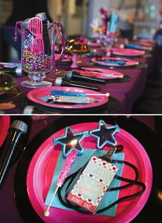 Girly Themed Rockstar Birthday Party // Hostess with the Mostess® Rockstar Party, Rockstar Birthday, Dance Party Birthday, 10th Birthday Parties, Birthday Party Themes, Birthday Table, Birthday Ideas, 8th Birthday, Card Birthday
