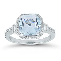 $969.99 | Aquamarine and Diamond 14kt White Gold Ring