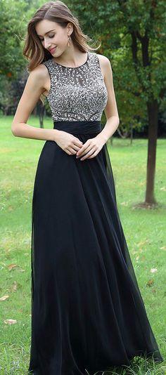 eDressit Black Beaded Chiffon Christmas Prom Dress