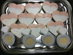 Wedding Heart Dresses Wedding Ring Decorated Sugar Cookies by I Am the Cookie Lady