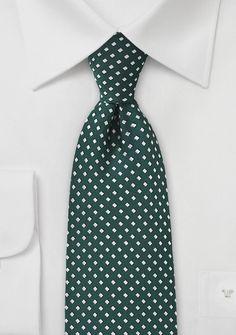 Krawatte Pünktchen-Karos edelgrün
