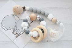 Pacifier clip and teething toy  gift set for baby shower /