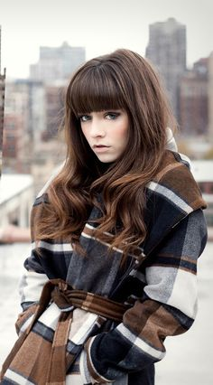 Love the blunt bangs and the slight curl...Cute plaid coat for winter http://rstyle.me/n/pvpnwnyg6