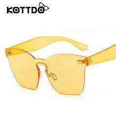 Big Thick Legs Fashion Integrated Lens Cat Eye Sunglasses Women Men Rimless Tint Lens Glasses Sun Glasses Oculos De Sol Gafas