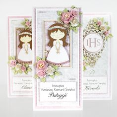 First Communion Cards, Scrapbook Albums, Scrapbooking, Invitation Cards, Invitations, Baby Cards, Cute Cards, Religion, Christening