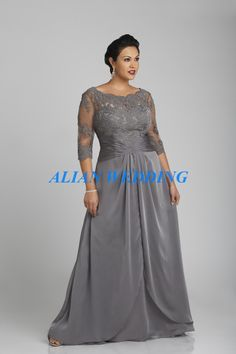 Find More Mother of the Bride Dresses Information about Plus Size Mother of Bride Dress Three Quarter Sleeves Formal Party Pant Suits Sheer Neck Appliques Chiffon Grey MD586,High Quality dress with long sleeve,China dresses holiday Suppliers, Cheap dress rivets from Lady Fashion Boutique on Aliexpress.com
