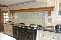 Glassification glass Splashback installed above an Aga in Sutton Coldfield Canopy, Glass Art, Glass Splashbacks, Sutton Coldfield, Kitchen Cabinets, Aga, Kitchens, Unique, Design