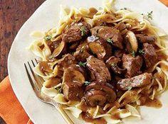Steak Tips with Peppered Mushroom Gravy