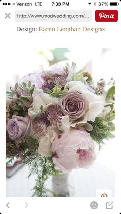 More of what Rachel likes.  The Mauve roses, the pink peony, and lots of greenery!