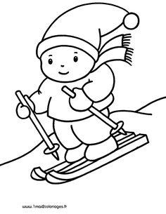coloriage petits enfant skieur