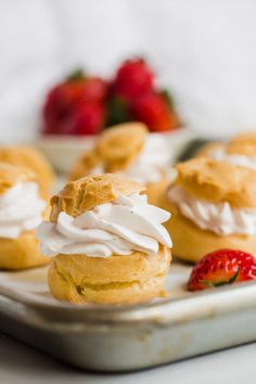 Profiteroles with whipped strawberry cream drizzled with rich chocolate ganache. The perfect dessert for sharing or family gatherings. French Desserts, Easy Desserts, Dessert Recipes, Homemade Profiteroles, Strawberry Crush, Cream Puff Recipe, Choux Pastry, Strawberries And Cream, Chocolate Ganache