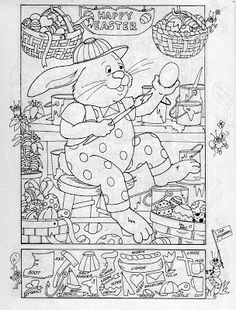 Easter Hidden Picture Puzzle/Coloring Page
