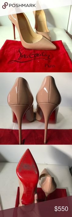 Christian Louboutin So Kate 100% Authentic Christian Louboutin So Kate 120 mm heels are a gorgeous pair of shoes that can be very fashion and elongate your legs. It has minor scuff marks on the back left and right shoe and on the bottom and side of the right heel. Please email me if you are interested so I can send you additional photos . Leedeborah.96 gmail.com This shoe comes with the original box as well. Christian Louboutin Shoes Heels