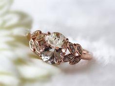 Fancy Wedding Diamond Ring 7x9mm Oval Cut 1.57ct  Morganite Engagement Ring Solid 14K Rose Gold  Gems Ring Wedding Ring Anniversary Ring